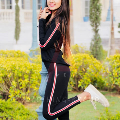 Black Side Striped Summer Tracksuit