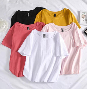 Wide Crew Neck Plain T-shirts