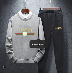 Grey And Black Gucci Printed Tracksuit