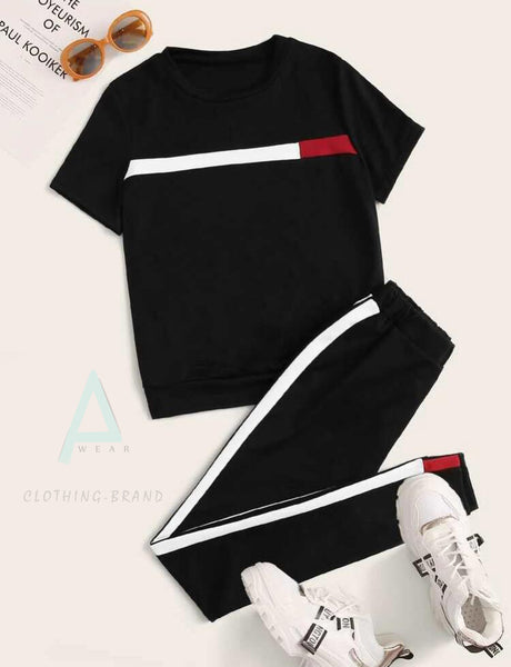 Black Summer White And Red Stripes Tracksuit