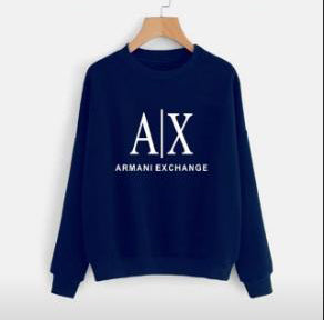 Navy Blue Armani Exchange Printed Sweatshirt