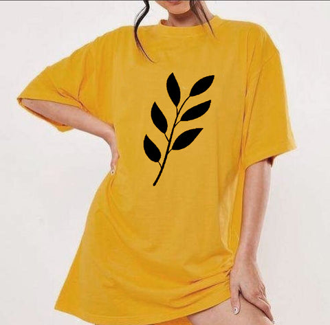 Mustard Printed Long T-shirt