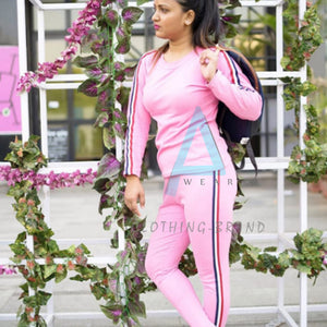 Pink Side Striped Summer Tracksuit