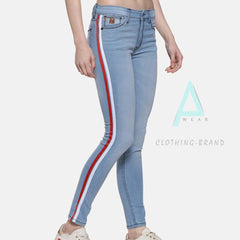 Sky Blue Side Striped Jeans