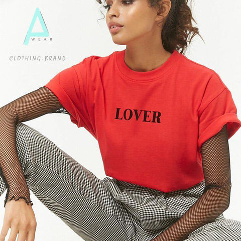 Red Half Sleeves Lover Customize T-shirt
