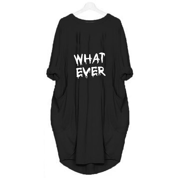 Black Long What Ever Printed T-shirt