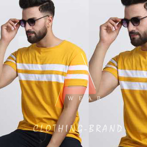 Yellow Half Sleeves White Stripes Tee