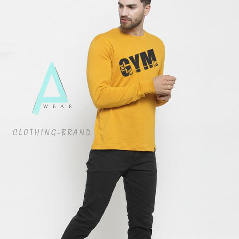Yellow Customize Full Sleeves Printed T-shirt