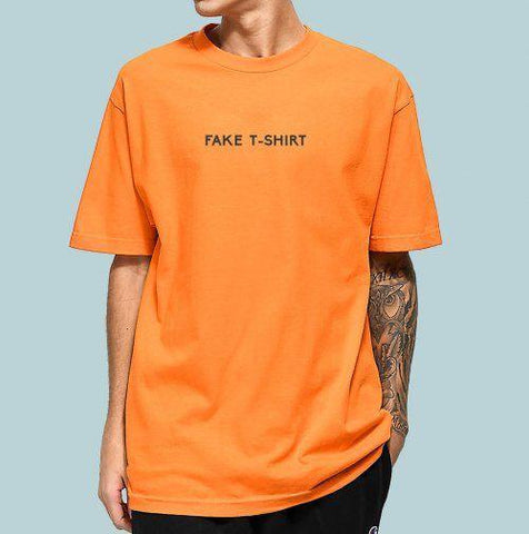 Orange Half Sleeves Fake T-shirt Customize T-shirt