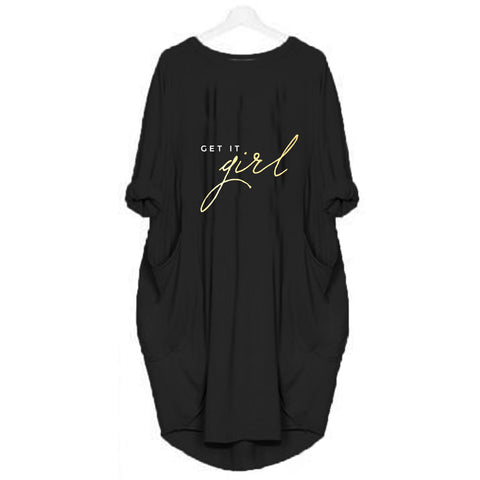 Black Long Get It Girl Printed T-shirt