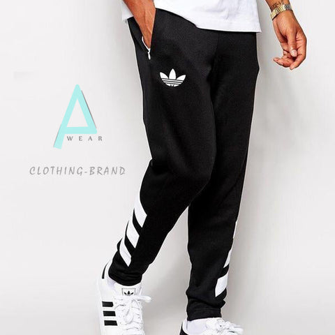 Mens Black Adidas Stylish Printed Trouser