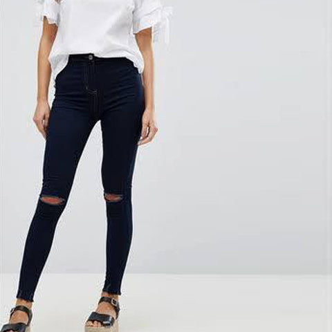 Navy Blue Damage Denim Jeans