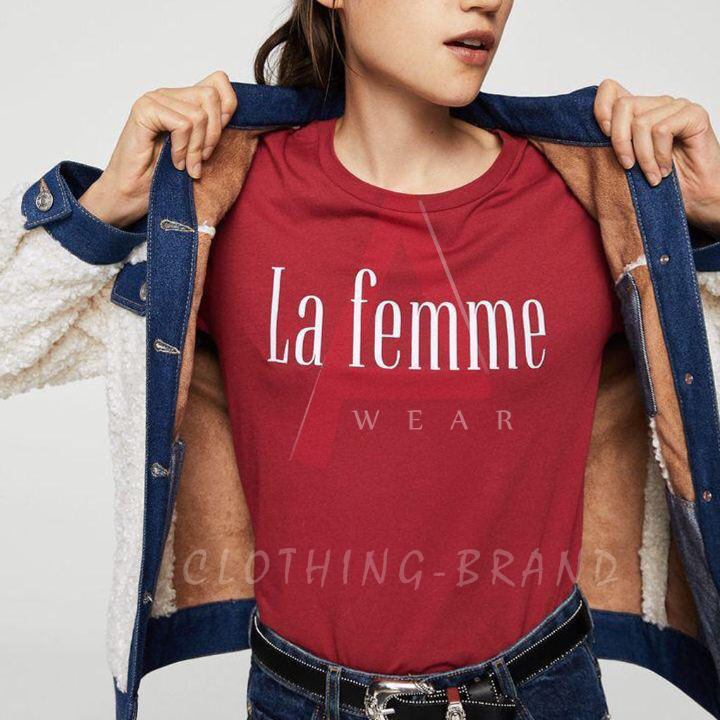Maroon Half Sleeves La Femme Customize T-shirt