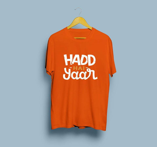 Half Sleeves Orange Printed T Shirt
