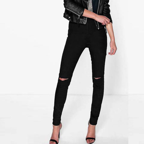 Black Damage Denim Jeans