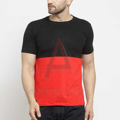 Double Color Red And Black Half Sleeves Tee