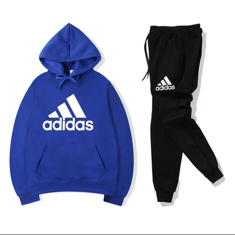 Royal Blue And Black Adidas Printed Tracksuit