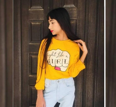 Yellow Full Sleeves Fight Like a Girl Printed T-shirt