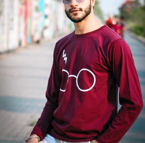 Full Sleeves Red Printed  T-Shirt