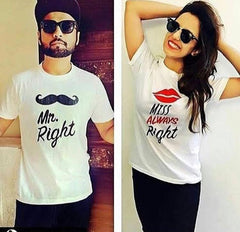 Pack Of 2 Couples Half Sleeves White Printed T-shirt