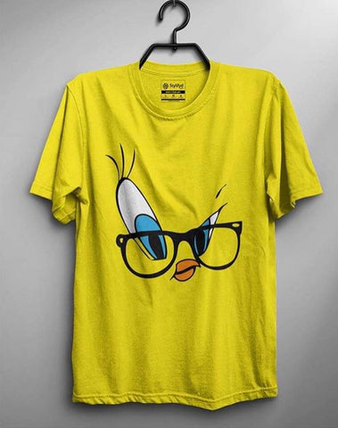 Half Sleeves Yellow Printed T Shirt