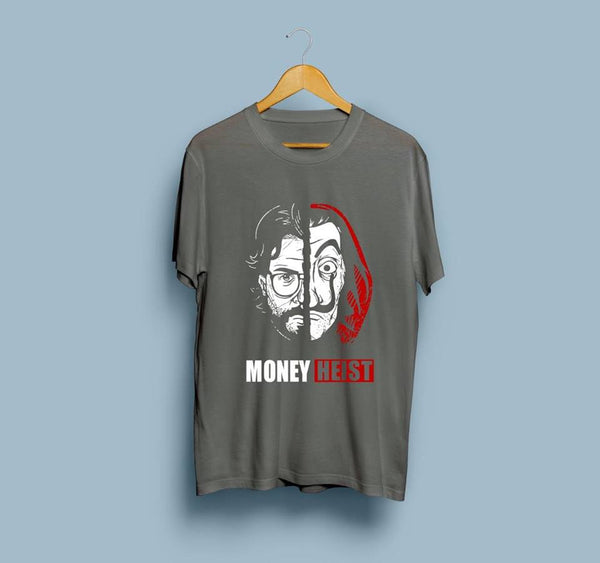 Charcoal Half Sleeves Money Heist Printed T-shirt