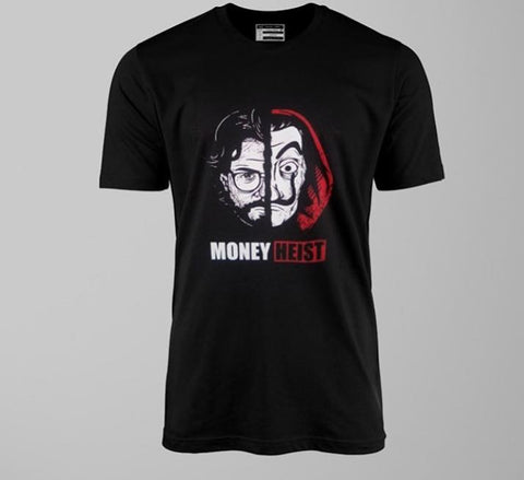 Black Half Sleeves Money Heist Printed T-shirt