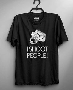 Black Half Sleeves I Shoot People Printed T-shirt