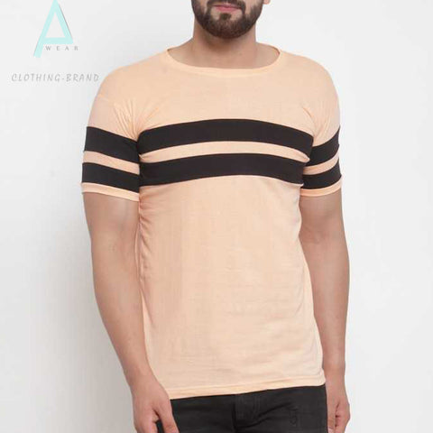 Peach Half Sleeves Black Stripes Tee