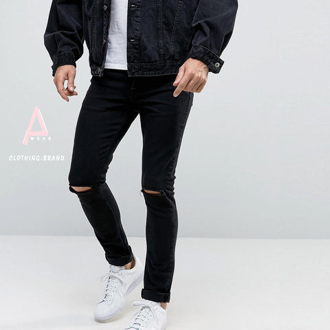 Black Damage Jeans For Mens