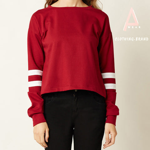 Maroon Circle Stripes Crop T-shirts