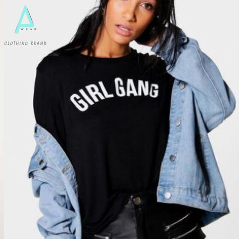 Black Half Sleeves Girl Gang Customize T-shirt