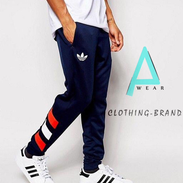Mens Navy Blue Adidas Stylish Printed Trouser