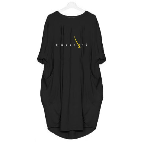 Black Hussaini Printed Long Tshirt