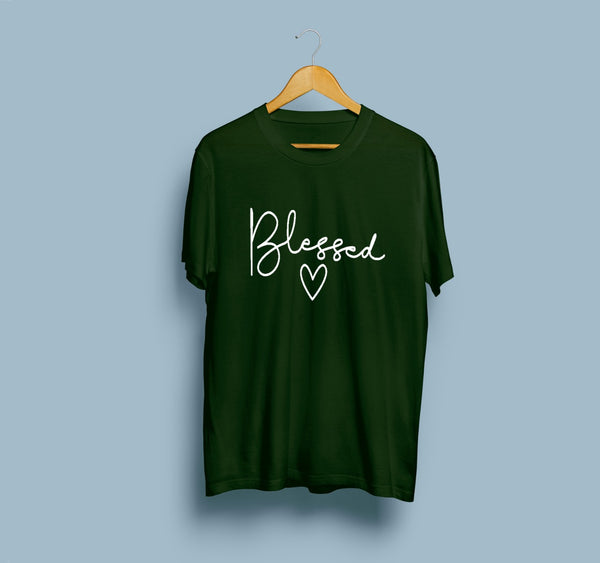 Green Blessed Half Sleeves Printed T Shirt