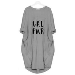 Hazel Grey Long  Grl Pwr T-shirt