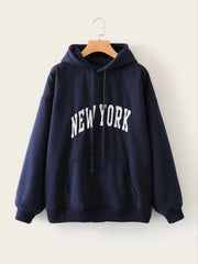 Navy Blue Printed Hood