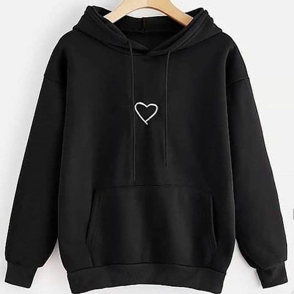 Black Heart Printed Hood