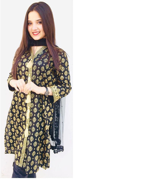 Black Stylish Printed Kurti