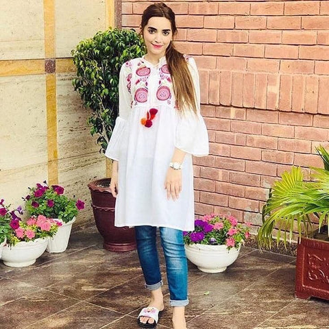 White Stylish Embroidery Kurti