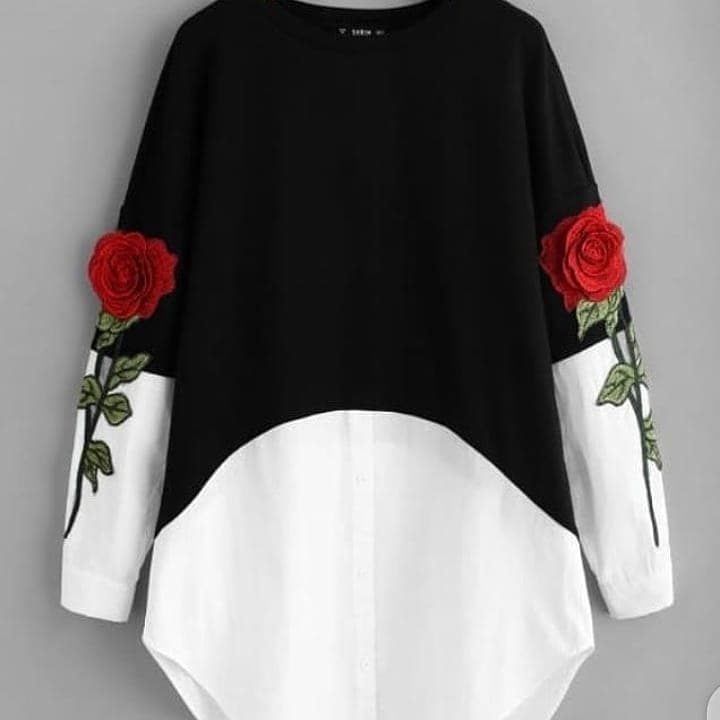 Black 3D Embroidery Flower Top
