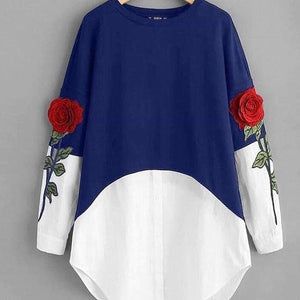Royal Blue 3D Flower Embroidery Top