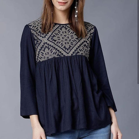 Navy Blue Short Top