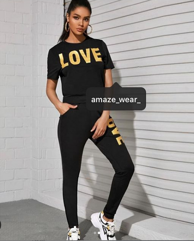 Black Summer Love Printed Tracksuit