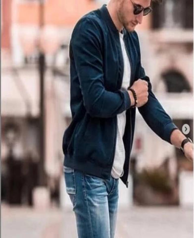 Navy Blue Bomber Cotton Jacket