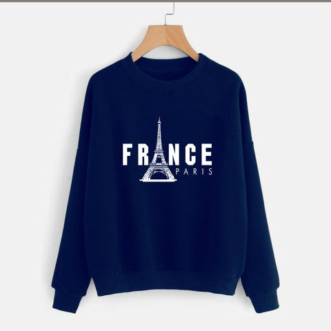 Navy Blue France Printed Sweatshirt