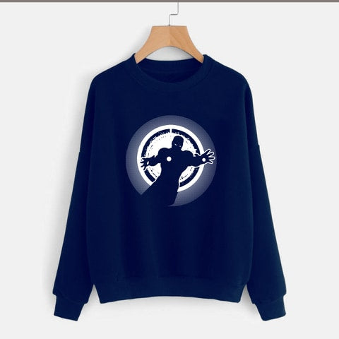 Navy Blue Iron Man Printed Sweatshirt