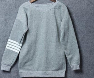 Grey Striped Printed Sweatshirt