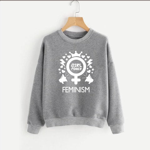 Grey Feminism Printed Sweatshirt
