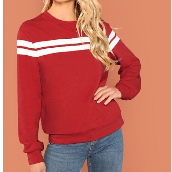 Red Front Striped Sweatshirt